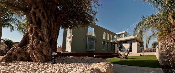 חזית בית עם חצר, צמחיה ואבן בעיצוב ארכידרום אדריכלים