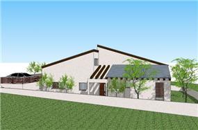 הדמייה של בית פרטי במושב לבנים. תכנון: GGAD Studio