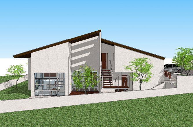 הדמייה של בית במושב לבנים בתכנון של GGAD Studio