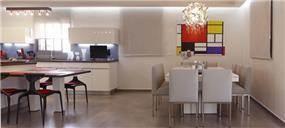 מבט אל פינת האוכל והמטבח המעוצבים בסגנון מודרני. עיצוב של טלי סטוף