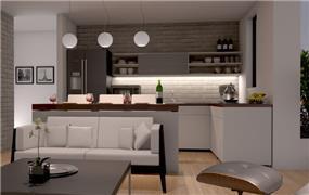 אי היוצר הפרדה בין המטבח והסלון - הדמיה