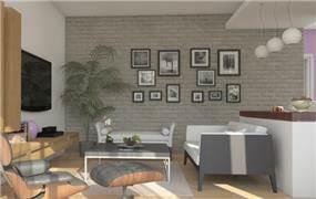 קיר בריקים אפור בסלון - הדמיה