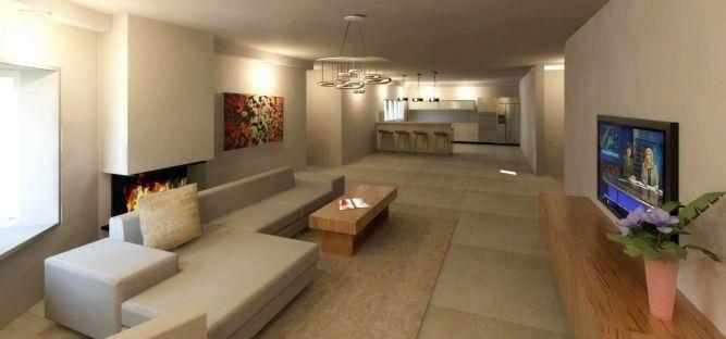 סלון מעוצב עם מבט למטבח בתכנון InDesigns studio