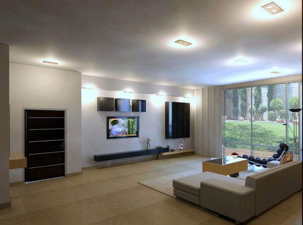 מבט אל הסלון בבית פרטי בסגנון מודרני