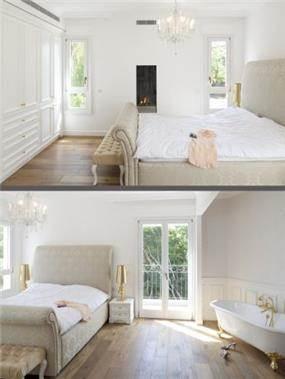 חדר שינה מרשים ויוקרתי בעיצוב קלאסי ומפואר ובגווני שמנת, עץ ולבן. HM מושיק חדידה-אדריכלות ועיצוב פנים