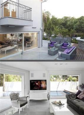 עיצוב חדר המגורים היוקרתי בסגנון מודרני, וגינת הבית הייחודית והמיוחדת. HM מושיק חדידה-אדריכלות ועיצוב פנים