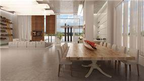 חלל פינת אוכל וסלון בעיצוב פזית חזיז