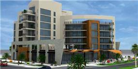 הדמייה ממוחשבת של מבנה משרדים מפואר - אורנה גבעון - אדריכלות ועיצוב פנים