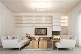 סלון בבית פרטי בתל מונד - עיצוב ליאת הראל