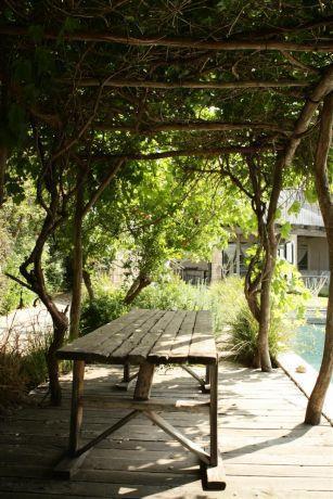 סוכת גפנים בבית בקיסריה, בעיצוב גני עמרם