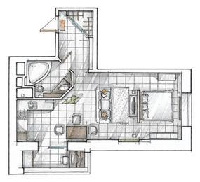 הדמיית דירת סטודיו בעיצוב סטודיו hushhush