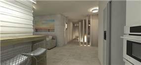 הדמיית חלל מרכזי בדירה- סטודיו Unique