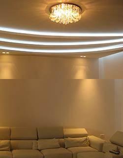 עיצוב מודרני חם בתאורת לדים נסתרת