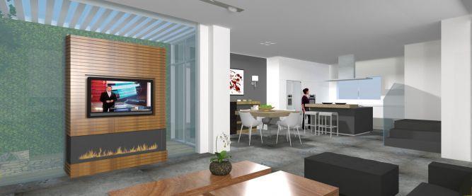 פרויקט בשלבי ביצוע. עיצוב סלון ומטבח של בית פרטי. אטלס-דרור אדריכלות ועיצוב
