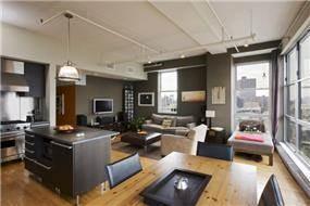 עיצוב חדר מגורים, מטבח ופינת אוכל, בסגנון מינימליסטי מודרני במנהטן- אטלס דרור אדריכלות ועיצוב