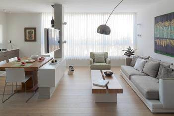 עיצוב סלון ופינת אוכל בסגנון כפרי מינימליסטי של פנטהאוז בגבעתיים - אטלס+ דרור- סטודיו לאדריכלות ועיצוב