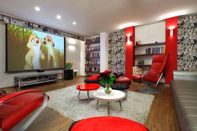 חדר משפחה וקולנוע ביתי - דאובה שלומית- עיצוב ואדריכלות פנים