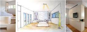 חדר שינה - סקיצת תכנון מול הפרויקט הבנוי