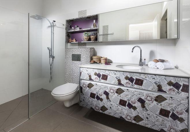 חדר אמבטיה מיוחד עם צבעוניות מדליקה, מיטל צימבר