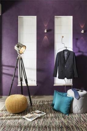 עיצוב פינה מיוחדת עם קיר בגוון סגול, מיטל צימבר