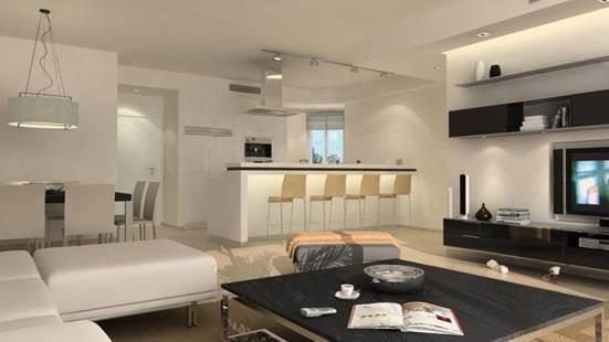 סלון ומטבח, דירה לדוגמא, רמת השרון - טל נבות ארכיטקטורה