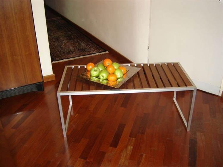 שולחן אלומיניום/עץ