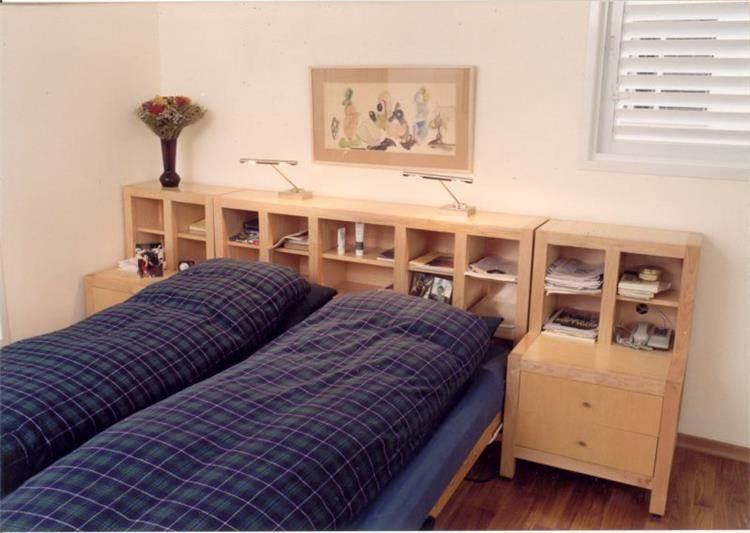 יחידת מיטה חובקת+איחסון מעץ מייפל