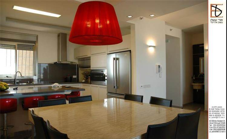 פינת אוכל ומטבח, דירה, תל אביב - אורי עשת עיצוב אדריכלי
