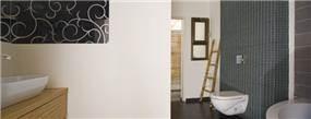 שילוב של פסיפס ועץ בחדר הרחצה, עיצוב לילך לויט