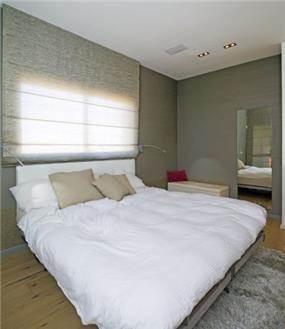 חדר שינה בגווני אפור ולבן, עיצוב לילך לויט