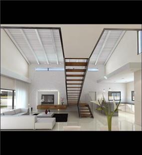 מדרגות מעץ בשילוב מעקה מזכוכית, עיצוב לימור בן הרוש