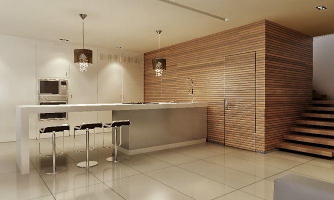 מטבח מודרני, מינימליסטי, שילוב לייסטים עץ,ארונות גבוהים בגוון בהיר.