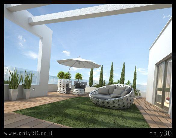 מרפסת המשלבת דק ודשא, עיצוב לימור בן הרוש