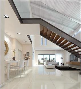 פינת אוכל וסלון בסגנון מודרני ונקי, עיצוב לימור בן הרוש