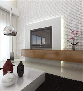 סלון בעיצוב מודרני עם קיר בריקים לבן בעיצוב לימור בן הרוש