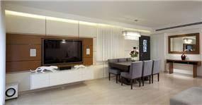 עיצוב פנים חיפוי קיר בסגנון מודרני בסלון הבית, עיצוב יוסי שאול