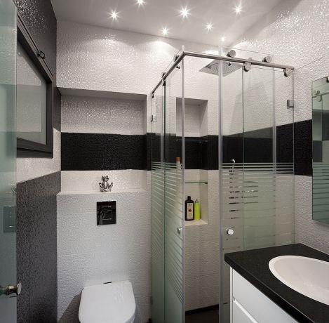 חדר רחצה מודרני המשלב צבעי שחור ולבן כנגטיב.עיצוב יוסי שאול YS-DESIGB
