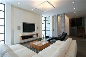 סלון בית בכרכור בעיצוב מודרני של CG DESIGN - כרמית גורש עיצוב ואדריכלות פנים