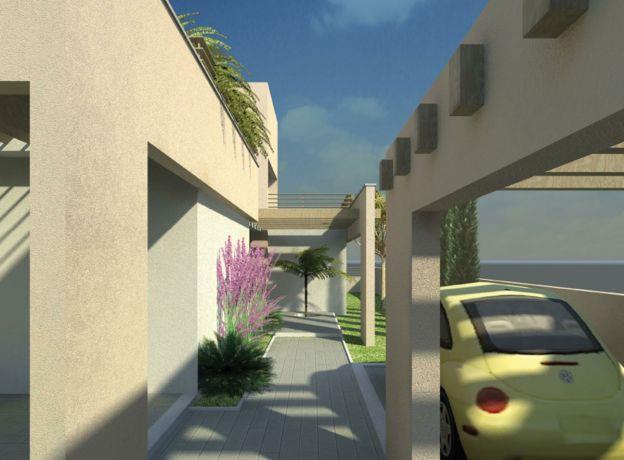 מבואת בית פרטי הכוללת חניה. ברק פרימה אדריכלים ומעצבים