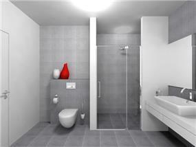 חדר רחצה בגווני אפור, עיצוב מרשים ויוקרתי של רוית קשטן - ארצי, אדריכלית