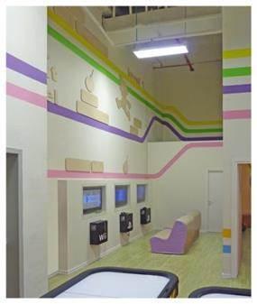 חדר משחקים לילדים הגדולים יותר, במשחקיית קניון עיר ימים בנתניה. מתאימה לכל גיל. שלומית ומעין - עיצוב פנים