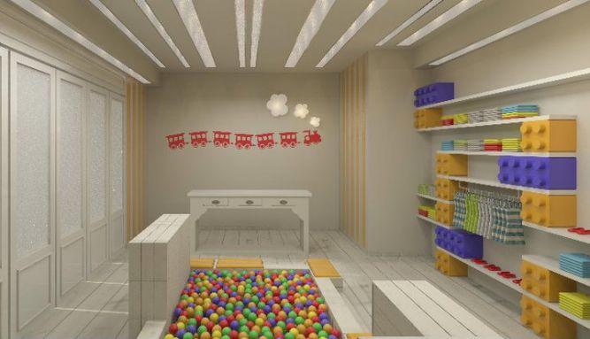 חנות בגדי ילדים במבט מהכניסה, עיצוב חדשני ומיוחד, שעושה חשק להכנס ולקנות. שלומית ומעין - עיצוב פנים