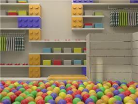 חנות בגדי ילדים הכולל בריכת כדורים ענקית. הילדים משחקים בזמן שההורים קונים. שלומית ומעין - עיצוב פנים