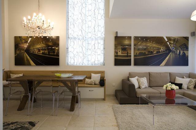 סלון ופינת אוכל בדירה בתל אביב - שירה לביא - סטודיו לעיצוב פנים