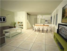 מטבח, סלון ופינת אוכל - תכנון מעגן מיכאל - אדריכלות ובינוי ערים