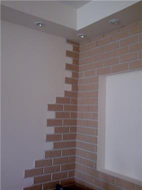 קיר בריקים עבודת אומנות הצבע והגבס
