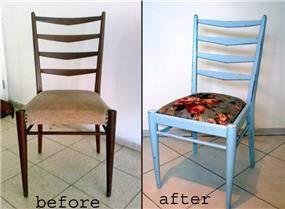 שיפוץ וצביעה של כסא פינת אוכל בסגנון כפרי - מעצבע