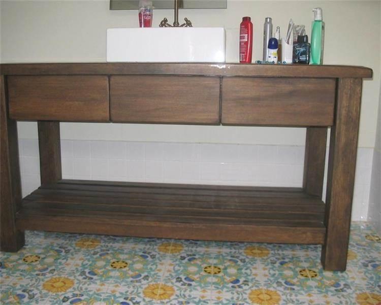 ארון אמבטיה עשוי עץ אגוז עבודת נגריית אילן