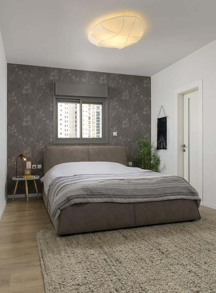 חדר שינה בגוון אפור מודרני