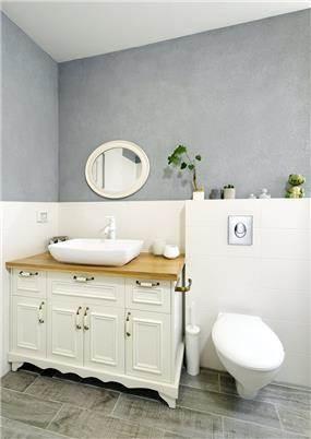 שירותים מעוצבים בסגנון כפרי